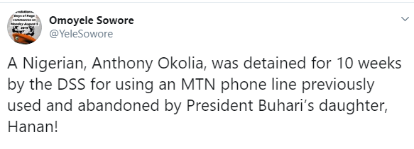 Nigerian man jailed for 10 weeks for using Buhari daughter's phone line, Sowore alleges