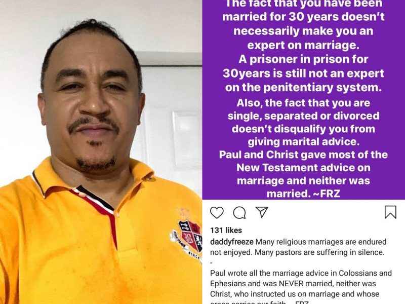 'Not how far!' A 30 year marriage doesn't qualify you as expert, Daddy Freeze claims