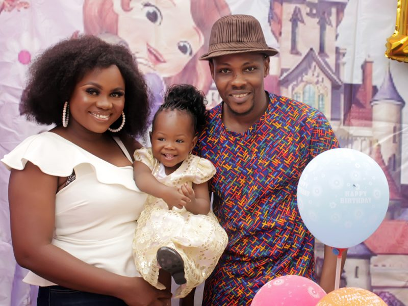 'Adorable' Micheal, Perpetual celebrate Jasmine 1st birthday with Princess Sophia theme party (Photos)