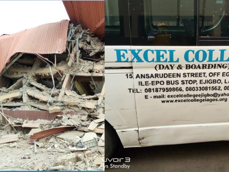 'Good news!' Lagos govt reacts as three-storey school building collapses (Photos)