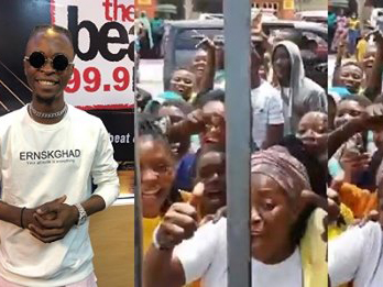 'For the love of Laycon' Icons storm Beat FM to get a glimpse of BBNaija Winner (Video)