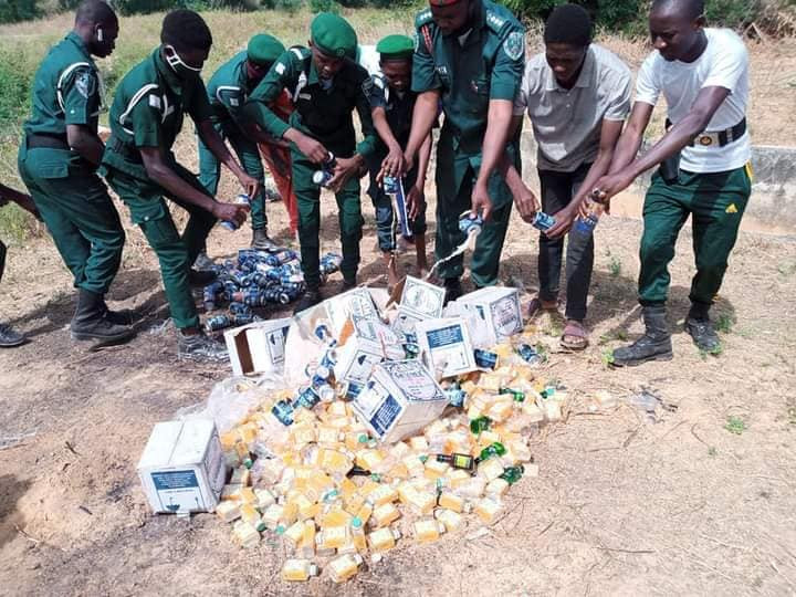 'At it again' Hisbah destroys over 300 cans and bottles of alcohol in Katsina (Photos)
