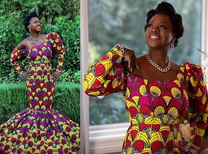 'Making a statement' Actress Viola Davis stuns in African print dress at 2021 Golden Globes (Photos)