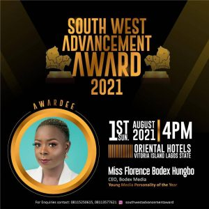 'Southwest Advancement Award' Bodex bags Young Media Personality year award
