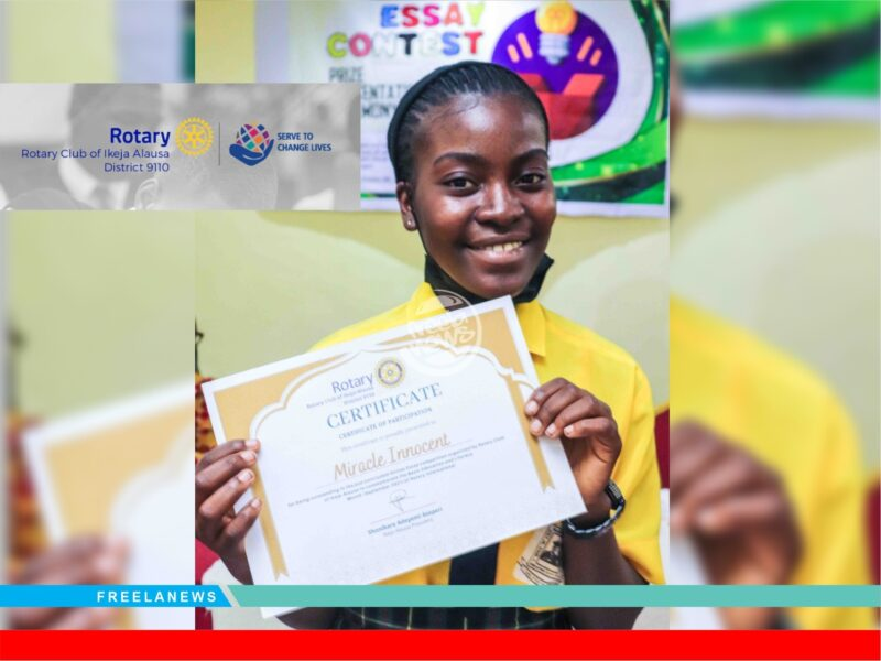 'Making a difference' Miracle Innocent emerges winner of Rotary Club's Online Essay Competition